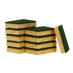 Tampon vert sur éponge végétale 125x90mm - Sachet de 10