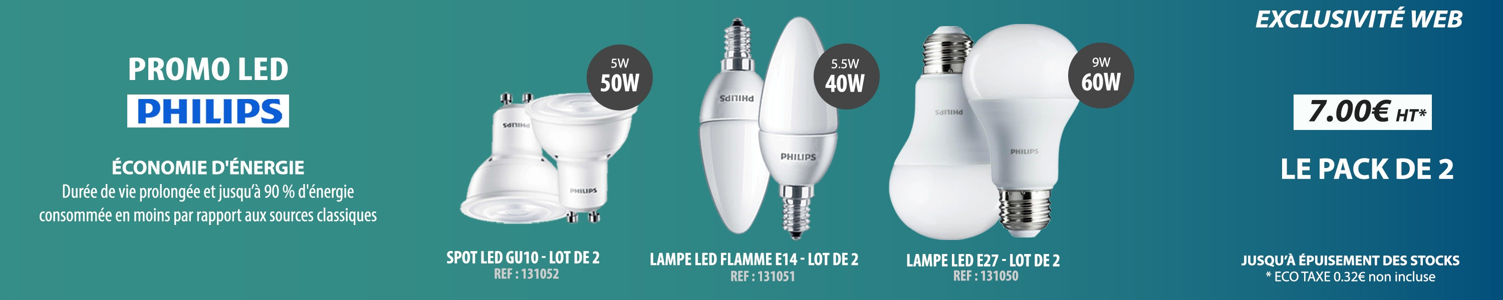 Le pack de 2 lampes LED philips
