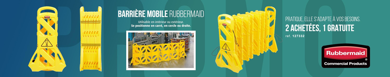 Barrière mobile rubbermaid 2 achetés 1 offert
