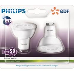 Spot LED GU10 5W PHILIPS 3000K - Lot de 2
