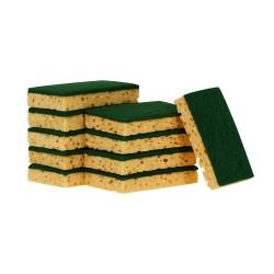 Tampon vert sur éponge végétale 110x70mm - Sachet de 10