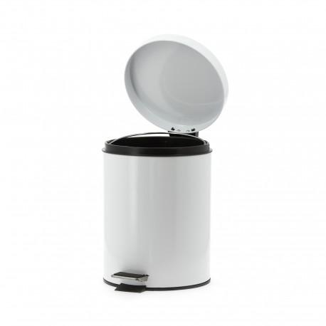 Poubelle en métal laqué blanc à pédale 5L