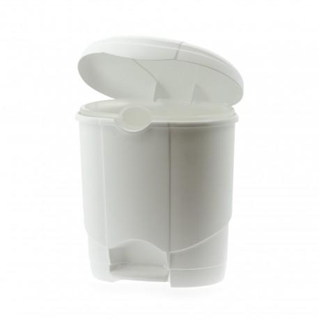 Poubelle plastique blanche arrondie à pédale 4L