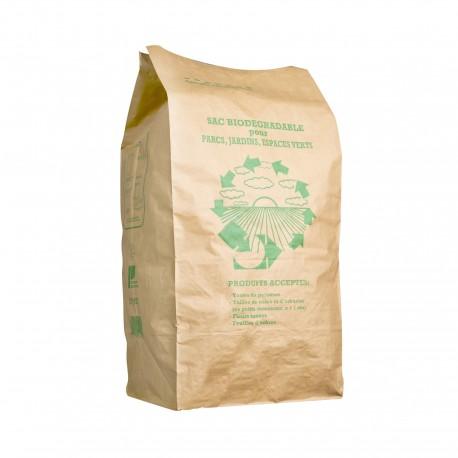 Sac papier déchets verts 100L kraft 40+30x80 + 30/2- Paquet de 25