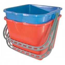 Seau 15L rectangulaire en PP avec anse (Rouge ou Bleu)
