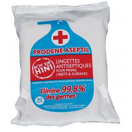 Lingettes bactéricide PRODENE ASEPTIL - Sachet de 30