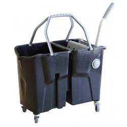 Chariot de lavage Bi Bac CLEVY / 2x15L Noir Avec presse