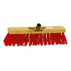 Balai cantonnier PVC rouge / Monture bois avec douille métal L 60cm