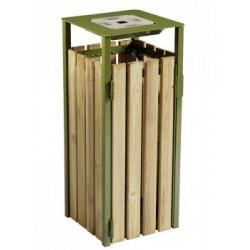 Corbeille bois à poser ou à fixer 110L avec cendrier EDEN