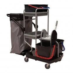 Chariot de ménage-lavage COMPACT7 / Seaux 2x15L et 2x9L / SP 120L