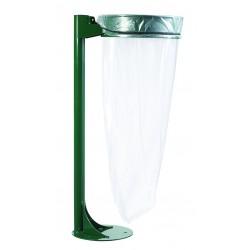 Collecteur de déchets COLLECMUR avec poteau vert sans couvercle