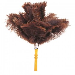 Plumeau en véritable plumes d'autruche avec manche bois