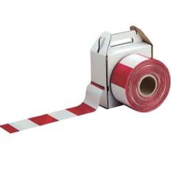 Ruban de signalisation rouge et blanc 5cm x 100m - Ct de 36 rlx