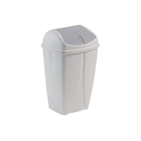 Poubelle plastique blanche à couvercle basculant 25L