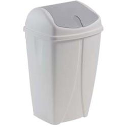 Poubelle plastique blanche à couvercle basculant 50L