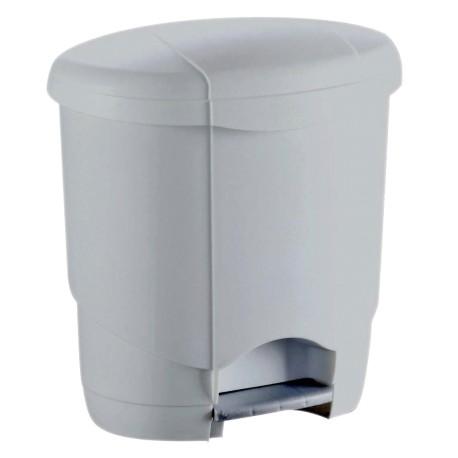 Poubelle plastique blanche arrondie à pédale 12L