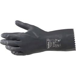 Gant néoprène mixé latex 30cm | Floqué coton|Noir (7.5à10.5)- 1 paire