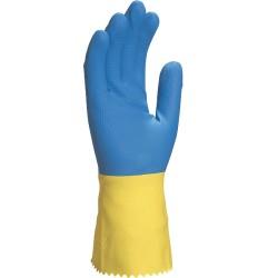 Gant ménage latex 30cm floqué coton sup bleu/jaune (6à10) - 1 paire