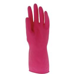 Gant ménage latex 30cm | Floqué coton | Rose (S à XL) - 1 paire