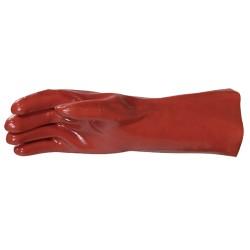 Gant PVC support jersey coton 35cm | Rouge | TU 10 - 1 paire