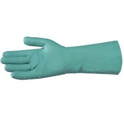 Gant nitrile 33cm | Floqué coton | Vert (7 à 10) - 1 paire