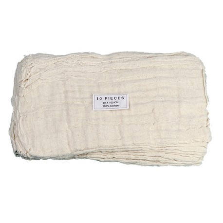 Gaze coton réutilisable avec trou central 80x80cm - Sachet de 10