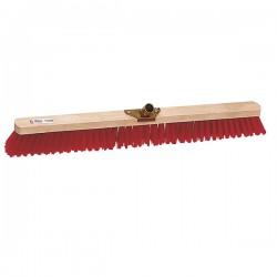 Balai cantonnier PVC rouge / Monture bois avec douille métal L 80cm
