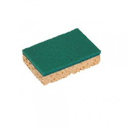 Tampon vert sur éponge végétale SPONTEX Basic PM 126279- Sachet de 10