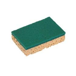 Tampon vert sur éponge végétale SPONTEX Basic GM 126280- Sachet de 10