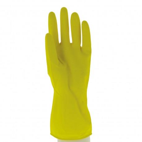 Gant ménage latex / Floqué coton / Jaune (S à XL) - 1 paire