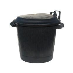 Poubelle basse ronde noire Premium 75L en PE avec couvercle