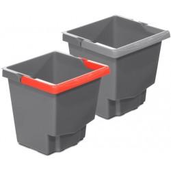 Seau 15L gris avec anse de couleur pour chariot IDEATOP