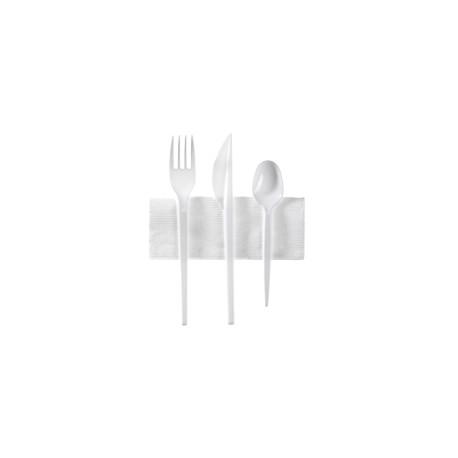 Kit 4en1 (couteau+fouchette+cuillère à d.+serv) - Sachet 250