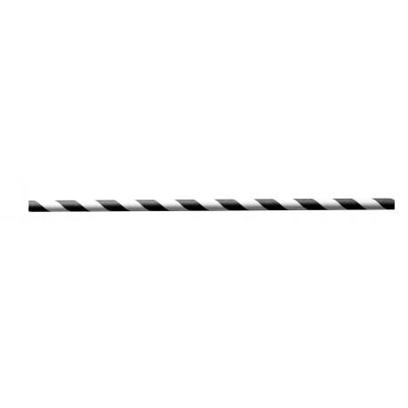 Paille en papier torsade noire D.6 / 20cm - Colis 6000
