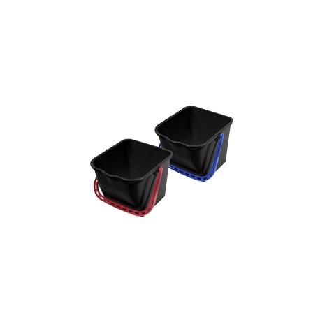 Seau 15L noir rectangulaire en PP avec anse de couleur