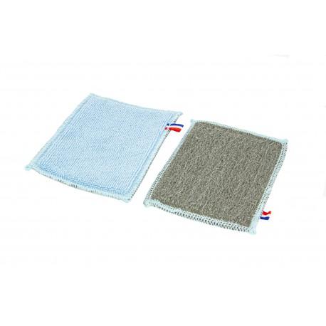 Lavette anti-calcaire microfibre & laine d'acier 12x15cm - Sachet 2