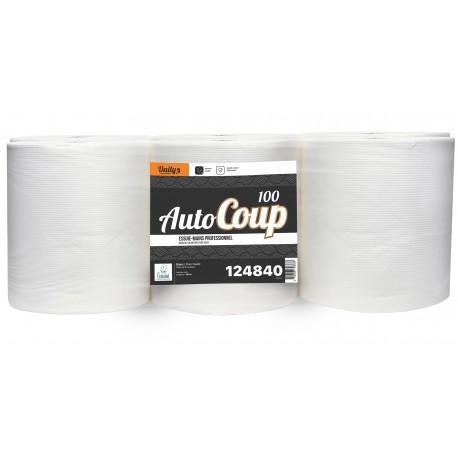 Essuie-mains 3 pl. g/c AUTOCOUP'100 Ecolabel 100m blanc - Colis 6 rlx