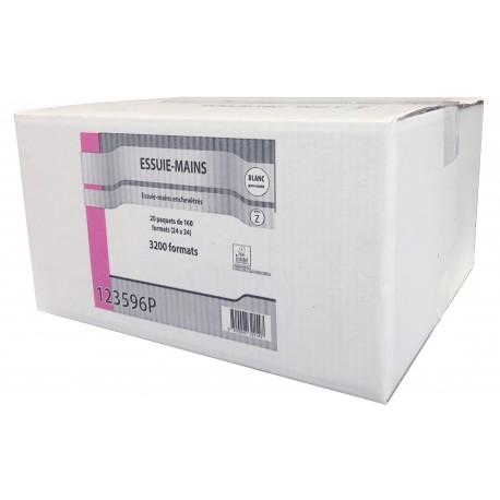 EMP 2 pl. g/c en Z pure ouate blanc Ecolabel 24x24cm - Ct de 3200