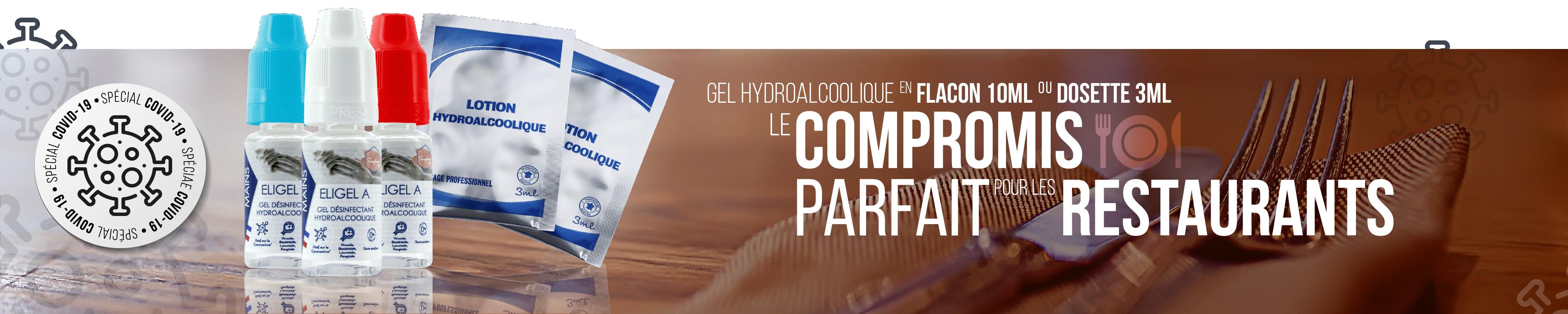 Gel hydroalcoolique flacon individuel 10ml et lotion hydroalcoolique dosette 3ml format individuel pour les restaurants