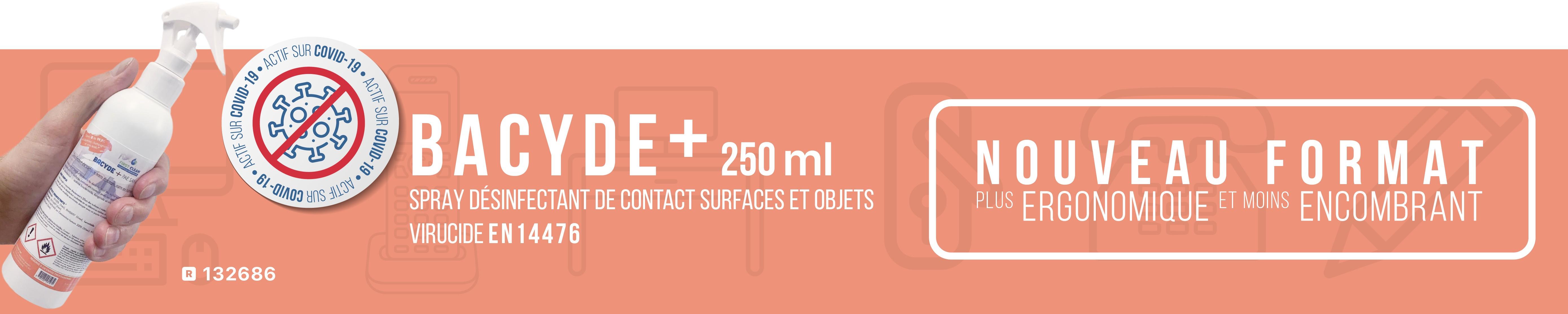 Bacyde+ désinfectant virucide surfaces et objets actif Covid-19 format pratique 250ml
