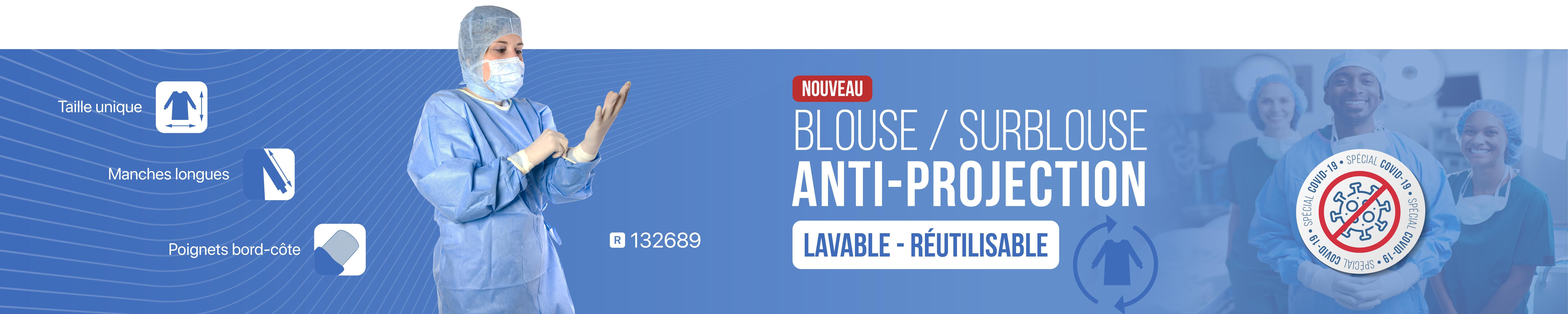 Blouse Surblouse Lavable réutilisable en Non tissé bleu anti-projection Produit spécial Covid-19